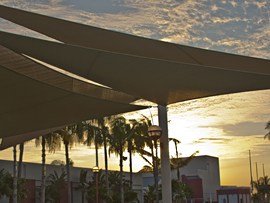 sunset view of shade sails