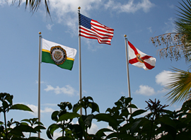 picture of flags in front of administration building