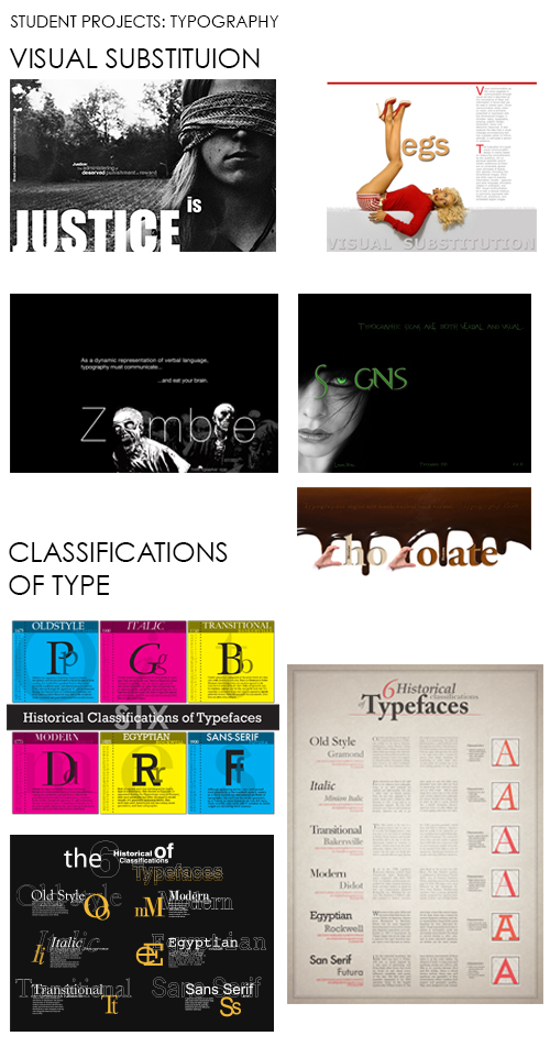 Student Projects: Typography. Visual substitutions and classifications of type