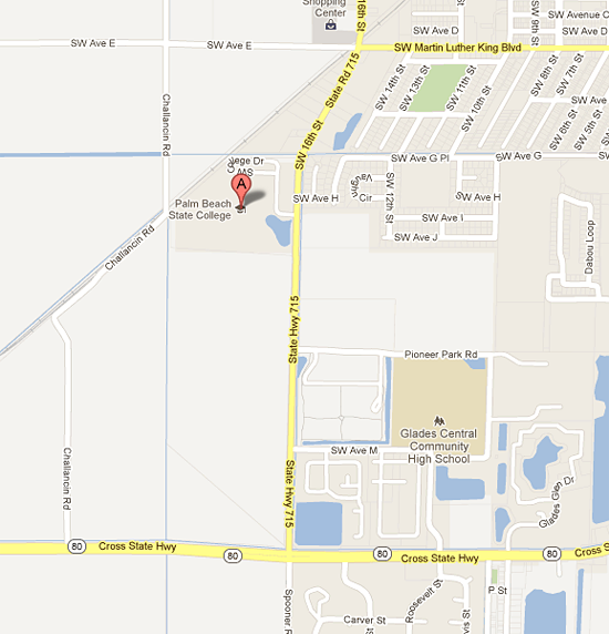 Google map for belle glade campus