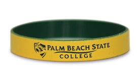 Yellow rubber wristband with black logo on it. Green on inside of the wristband.