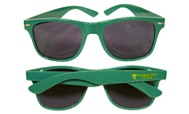 Green sunglasses with gold logo on right side