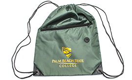 Green Lightweight drawstring style backpack with yellow logo