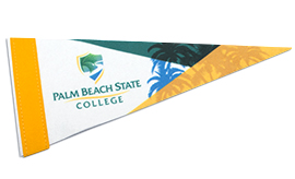 Pennant Flag with logo and palm trees
