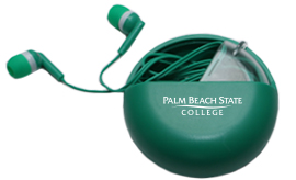 Earbuds in a green round travel container with white logo on it.
