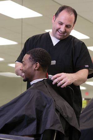 Male Cosmetology students at Palm Beach State College