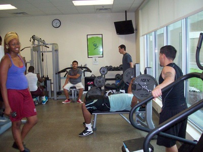 Students using weights