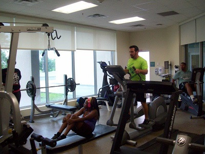 Person using the elliptical machine