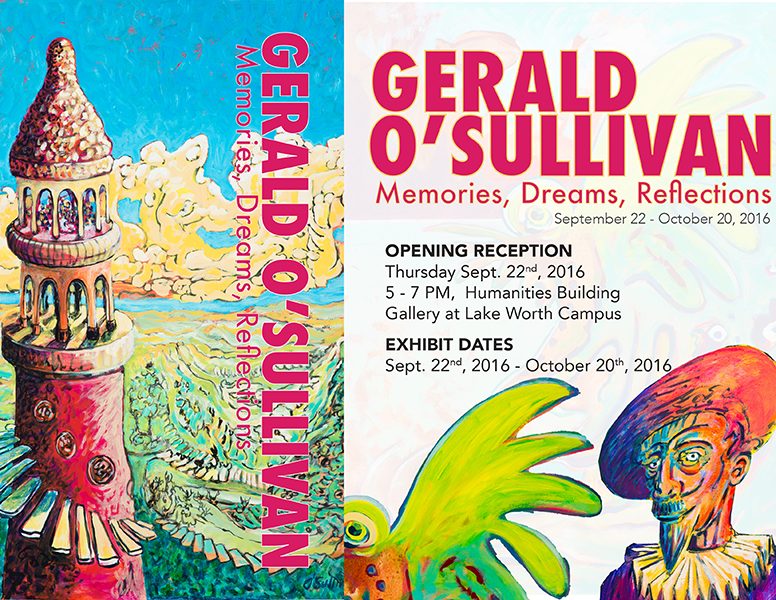 inviation for Gerald O'Sullivan's exhibition of paintings at the gallery at lake worth campus