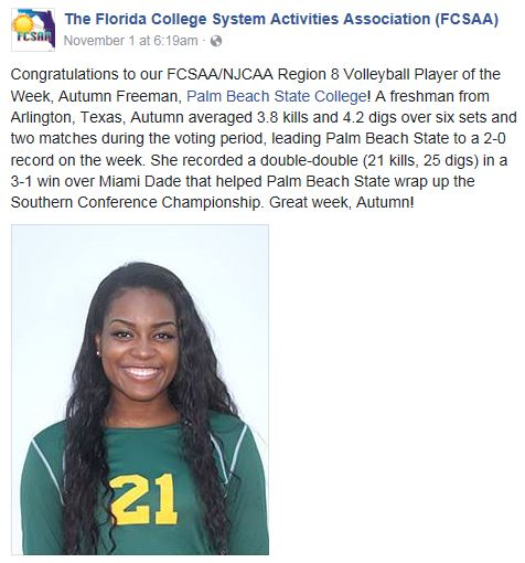 Freeman VB Player of the Week