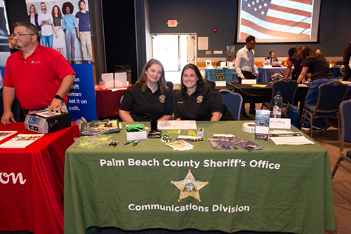 Palm Beach County Sheriff's Office table and representatives
