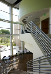 view from stair landing in atrium lobby
