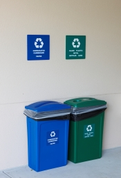 recycling collection areas are set up thourough the building in compliance with our palm beach state college district wide recycling program