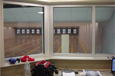 view from inside the range control room looking into firing range.